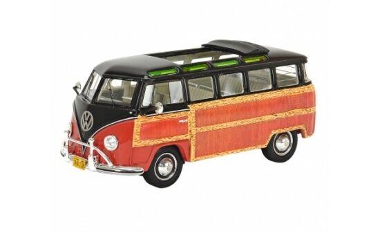 450894300 - schuco vw t1 Samba  Woody  BRUN-ROUGE - 1 43