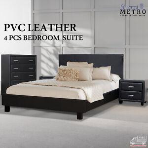 Details about New Matte Finished Black PVC Leather 4 Pcs Bedroom Suite Bed  Tallboy Bedside