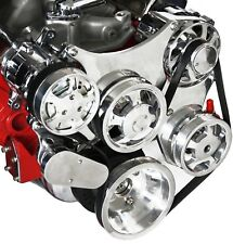 Sbc Serpentine Front Runner Pulley Drive Kit Polishedchrome Ac Alternator Ps