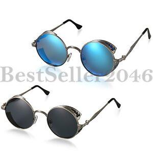 Vintage-Steampunk-Polarisierte-Sonnenbrille-Runde-Spiegel-Goggles-Eyewear