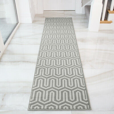 Geometric Grey Runner Rug Long Modern
