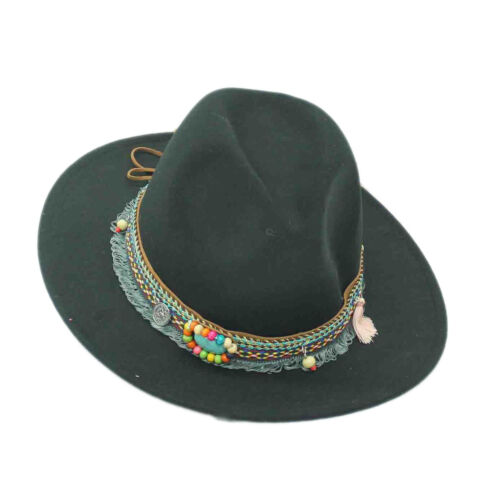 Women Ladies Wide Brim Floppy Bowler Lace Trim Hat Wool Felt Fedora Charm Cap