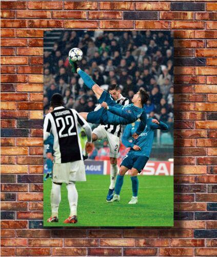 T1887 36 Silk Poster Cristiano Ronaldo Bicycle Kick Real Madrid vs Juventus Art