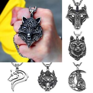 Stainless-Steel-Viking-Wolf-Pendant-Fenrir-Odin-Celtic-Norse-Pagan-Necklace