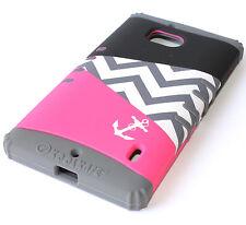 For Nokia Lumia Icon 929 - PINK / GRAY Chevron Hybrid Hard&Soft Skin Rubber Case