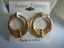 "1 1/4"" Round Egyptian Wings Hoop Goldtone Economical Pierced Fashion Earrings"