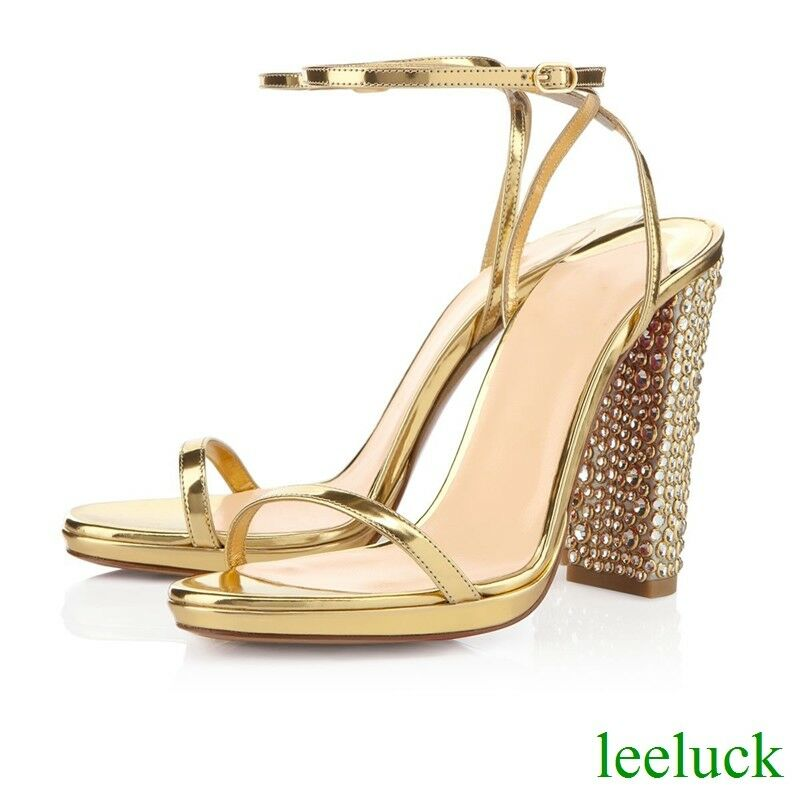 Fashion donna Sandals Open Toes High Block Heels Leather Pumps Ankle Strappy