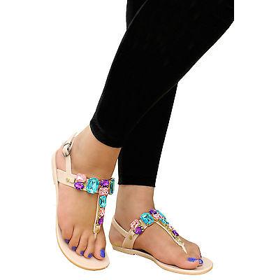 Ladies Beach Summer deslizadores Diamante Jalea Flip Flop Sandalias Mujer Zapatos Talla