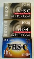 Lot of 3- 2 Maxell TC-30 HGX-Gold & 1 TDK VHS-C Video Cassette Tapes 30 minute