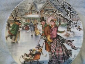 Skating-on-the-Pond-1990-Bradex-Collector-Plate-by-Stewart-Sherwood-signed