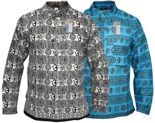 Om Printed Casual Cotton Grandad Collarless Summer Light Nepalese Kurtas Shirts