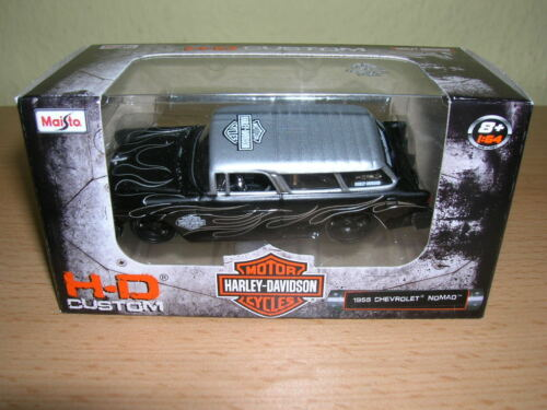 Maisto Harley-Davidson Customs 1955 chevrolet nomad negro plata 1:64