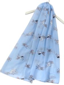 Blue French bulldog print scarf scarves shawl beach wrap throw present gift