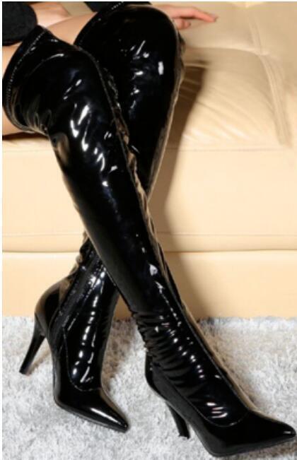 Sexy Para mujeres Cremallera lateral puntera en punta Stilettos Tacón Alto la Rodilla botas Altas Zapatos Talla