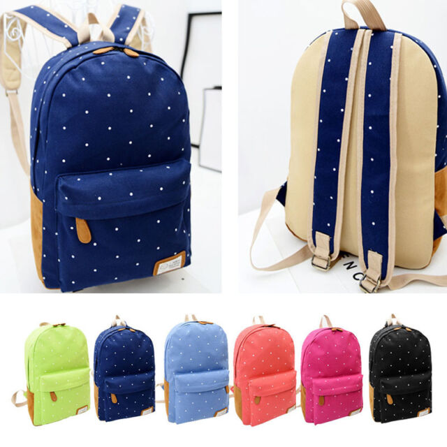 Women Girls Backpack Bags Canvas Rucksack Polka Dot Casual Backpack Shoulder Bag