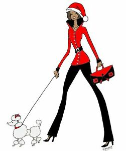 african american diva with poodle christmas cards ebay