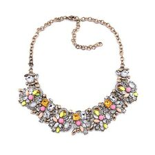 NEW ZARA BEAUTIFUL PINK YELLOW CLEAR STONES GOLD NECKLACE - NEW