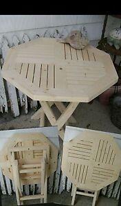 Идет загрузка изображения Hexagon Octagon Natural Wood Wooden Folding Side  Table