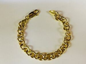 10kt-SOLID-Yellow-Gold-Round-Rolo-Charm-Link-Bracelet-8-5-Inch-25-grams-8-5-MM
