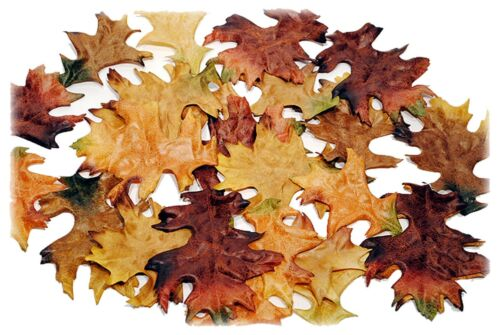 Oak Fabric Fall Leaves in Box Set//24 Autumn Harvest Floral Home Decor NEW