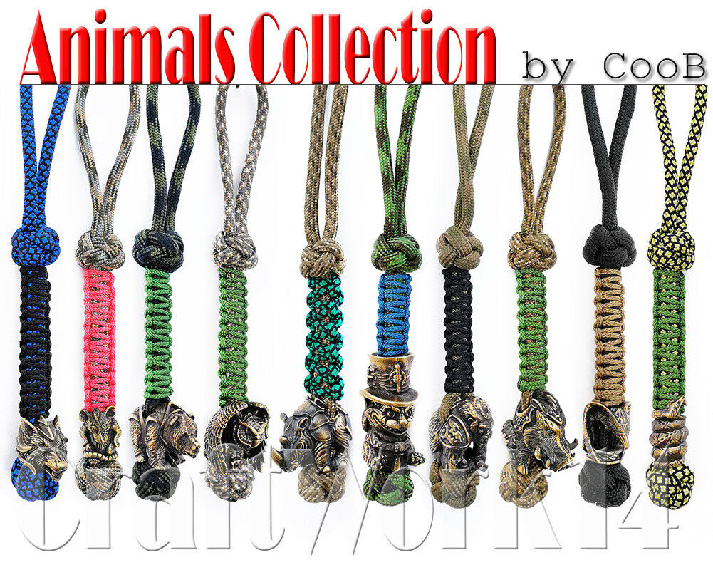 Survival Paracord Lanyard Keychain Strap Key Charm with Hand-Casted Bead CooB