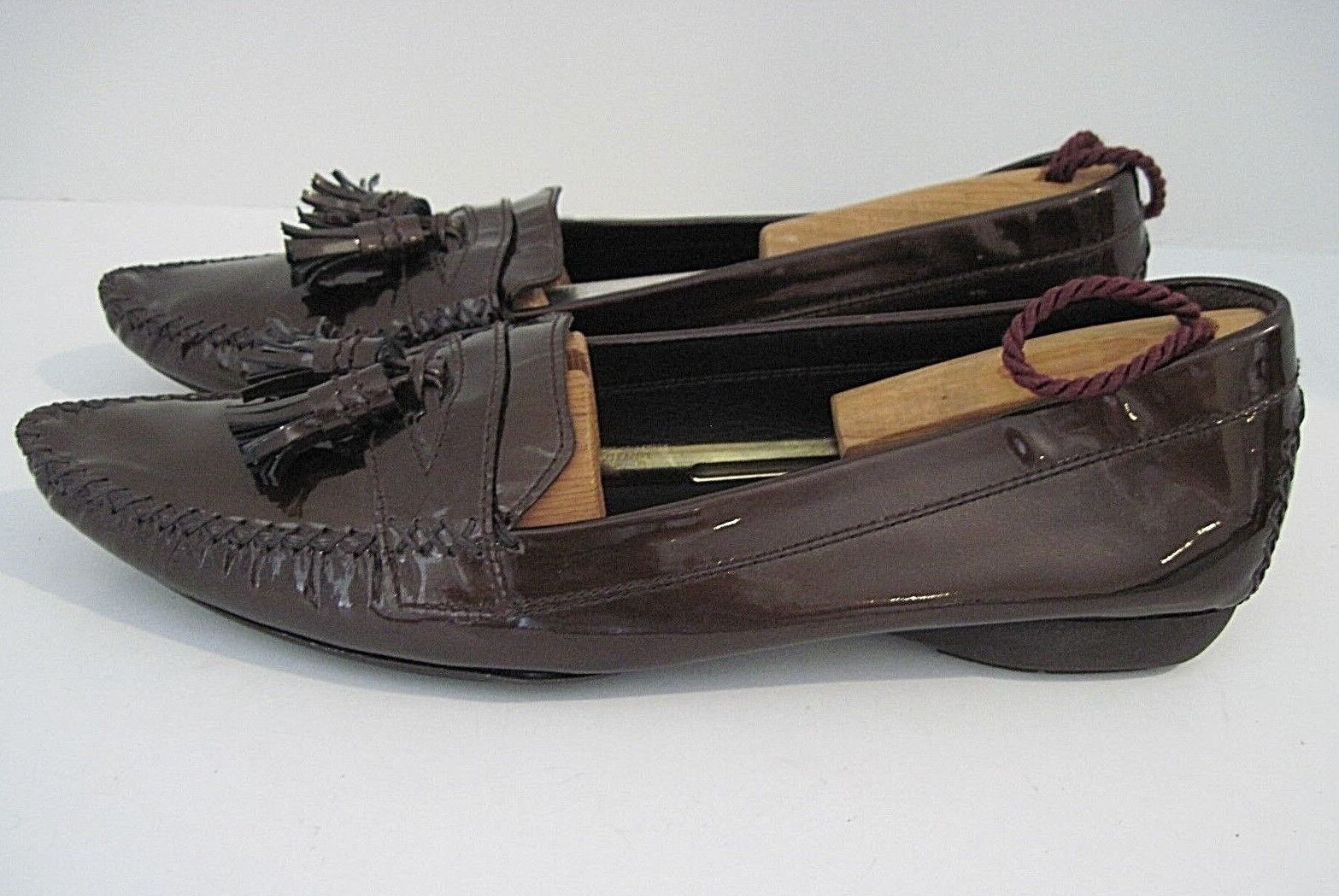 STUART WEITZMAN Country Club Bronze Patent Tassel Loafer Shoes Size 10 1/2 N