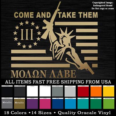Punisher Flag Patriotic 2nd Amendment NRA sticker 3 Percent /% Molan Labe Molon