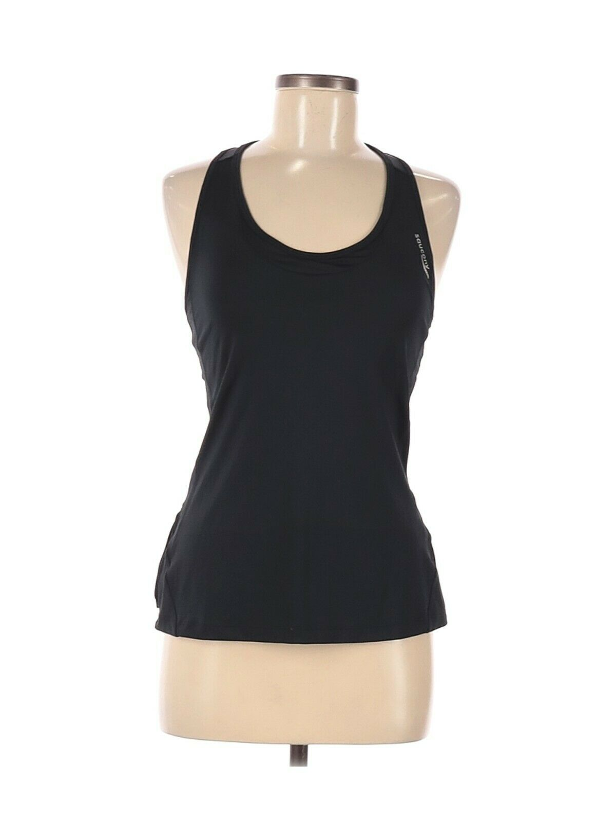 Saucony Black Athletic Tank Top with Build In Bra Women's Size Medium w 1 Pocket