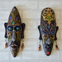 Resin Wall Hanging African Face Mask Mural Bar Creative Big Home Entrance Decor