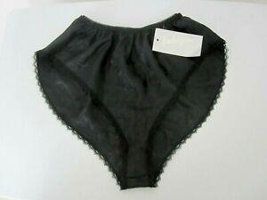 Vtg-Indulgence-Tap-Panty-Size-S-Black-Jacquard-Flutter-Legs-NEW