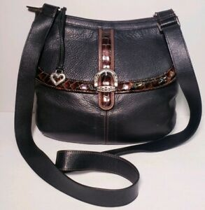 Brighton-Women-039-s-Black-Leather-Hobo-Medium-Shoulder-Handbag-W-Dust-Cover