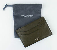 Tom Ford Dark Moss Green 100% Pebbled Leather Card Holder Wallet $250 on sale