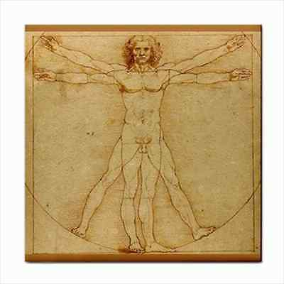 Vitruvian Man Leonardo Da Vinci Art Ceramic Tile