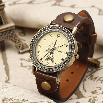 New Fashion Brown Genuine Leather Band  & Tower Face Bracelet Wrist Watch