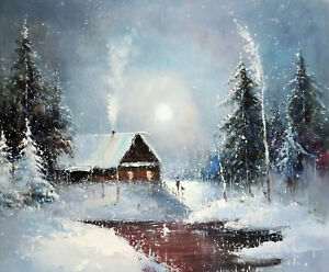 Snow-Cabin-Mountain-Home-Winter-Pond-Gray-Sky-20X24-Oil-Painting-Stretched