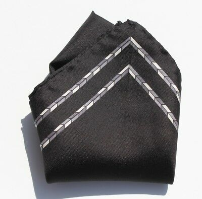 Gentleman's Black, Grey, Silver, & White Printed Hand-Rolled Silk Pocket Square!