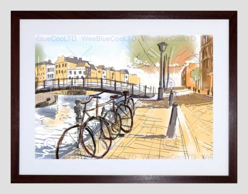 PAINTING WATERCOLOUR AMSTERDAM STREET CANAL BLACK FRAMED ART PRINT B12X13629