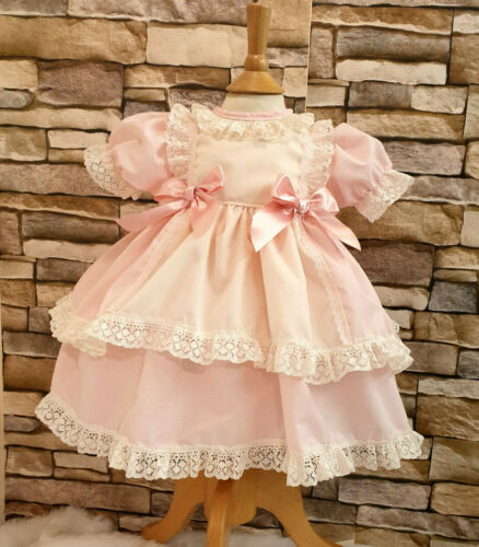 DREAM SPANISH TRADITIONAL PINK CREAM PUFFBALL  DRESS 0-5 YEARS or reborn dolls