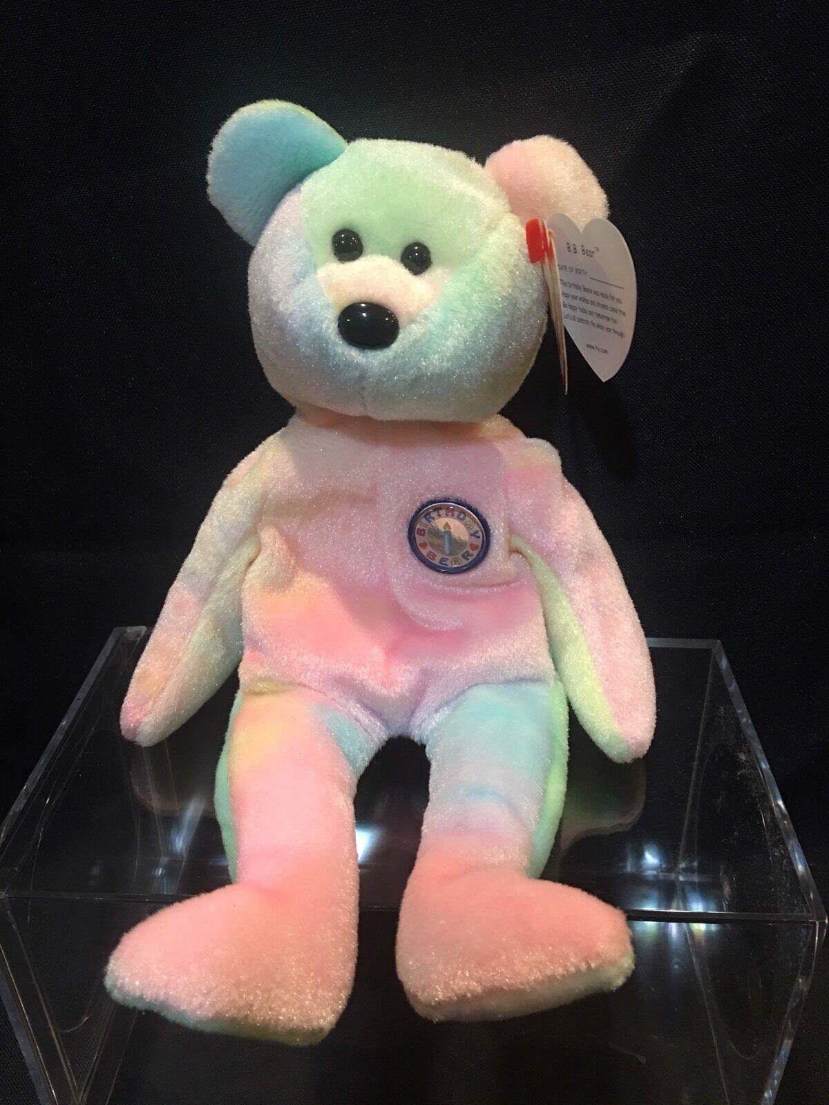 TY TY TY Beanie Babies  B.B. BEAR  HAPPY BIRTHDAY Teddy Bear GREAT GIFT     NEW 17ee5e