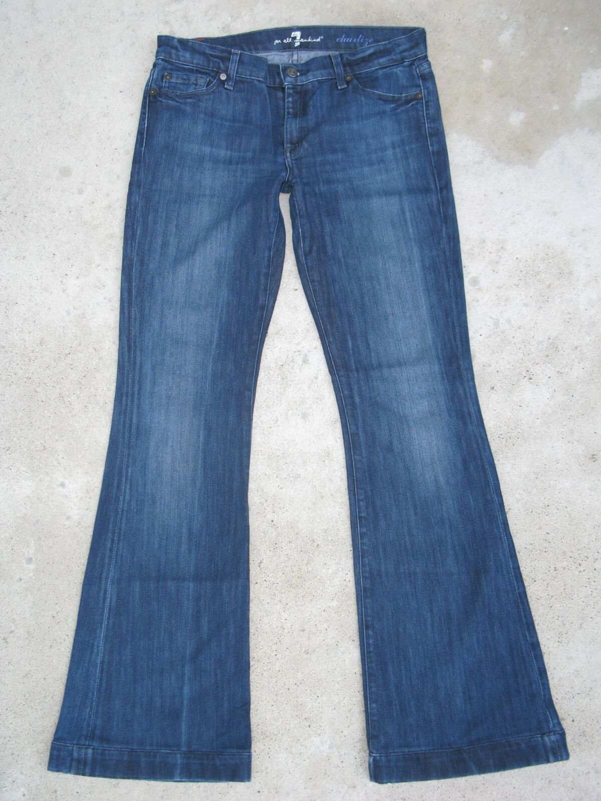7 For All Mankind Womens Charlize Jeans Sz 30 Mid Rise w Stretch Flare Dark