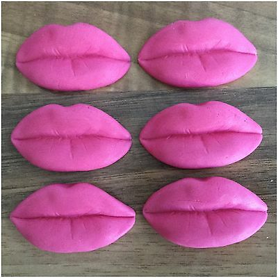 6 Large Lips Edible Pink Valentines Day Sugar Cake Toppers Decorations Hen Party