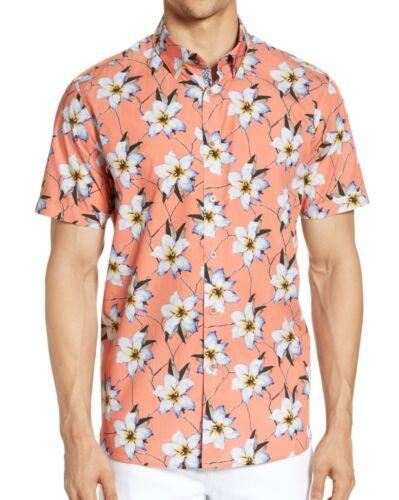 Ted Baker London Men/'s Short Sleeve Baboo Sateen Hawaiian Floral Shirt Coral