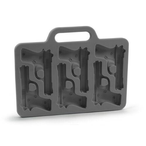 Stilvolle Pistole geformte Silikon Eiswuerfel Form Schale DIY Schwarz