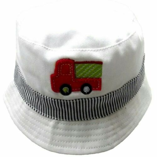 Baby Boys Summer Hat Fire Engine Bucket Hat by Pesci White Blue 0-3 3-6 Months