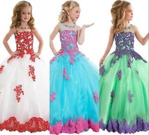 Nouveau-Fille-de-Fleur-Robes-Princesse-de-Bal-Robes-de-Ceremonie-de-Soiree-Robes
