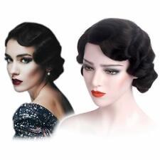 Savoir Faire 1920s Flapper Gatsby Black Women Costume Wig with Veil Headband