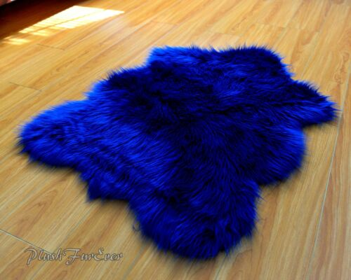 Nursery Area Rug Navy Blue Faux Fur Shaggy Sheepskins Flokati Throws Accents Rug