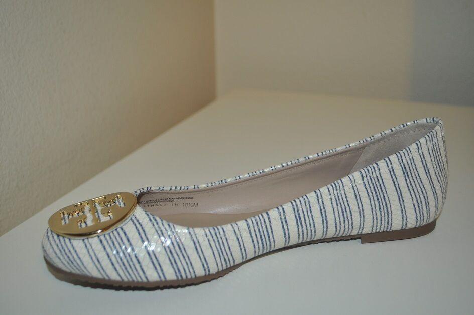 Tory Burch REVA REVA Burch Beige Printed Piano Stripe Blue Gold Logo Ballet Flat Shoe 10.5 115caf