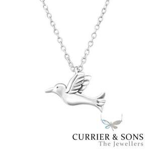 925 sterling silver bird pendant necklace design 6 45cm 18 inch image is loading 925 sterling silver bird pendant necklace design 6 mozeypictures Image collections
