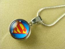 SUPERMAN III SMALL 12mm SNAP BUTTON CHARM PENDANT W/ SILVER NECKLACE